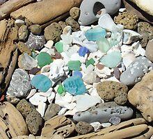Beach Seaglass Shells Art Prints Driftwood Agates Fossils by BasleeArtPrints