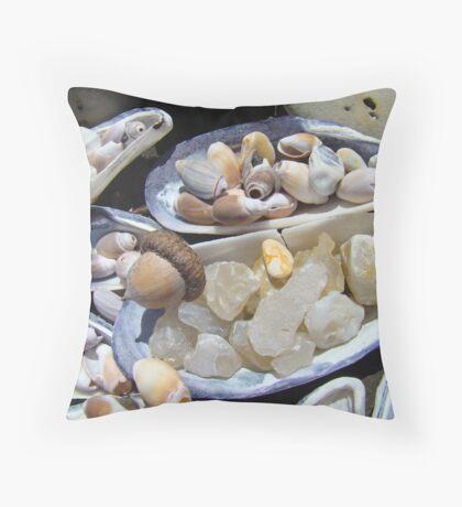 AGATES Rocks Art Prints Sea Shells Coastal Throw Pillow