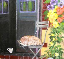 CAT ASLEEP ON A CHAIR by Dian Bernardo