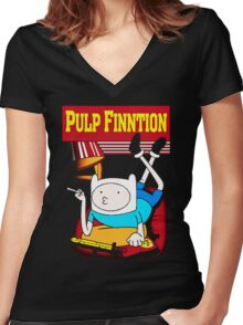 Funny Pulp Finntion Adventure Time Women's Fitted V-Neck T-Shirt