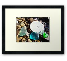 Beach Rock Garden Art Prints Seaglass Sand Dollar Framed Print