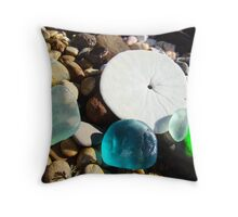 Beach Rock Garden Art Prints Seaglass Sand Dollar Throw Pillow