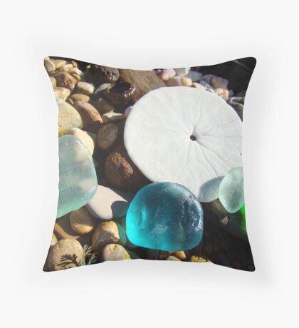 Beach Rock Garden Art Prints Seaglass Sand Dollar Throw Pillow