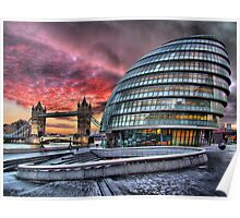 City Hall and Tower Bridge - HDR Poster