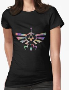 The Legend of Zelda - Hyrule Crest + Master Sword // Water Color Edition Womens Fitted T-Shirt
