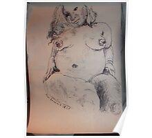 Female Nude I -(290313)- A5 sketchpad/Black Ink Pen Poster