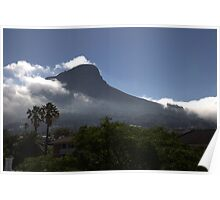 Lions Head, Cape Town, enveloped by low clouds  Poster