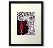 Joker and Smoke surreal ink pen and pencil drawing Framed Print