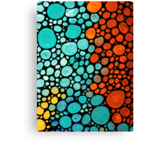 Abstract 3 - Colorful Mosaic Art Aqua Orange Yellow Canvas Print