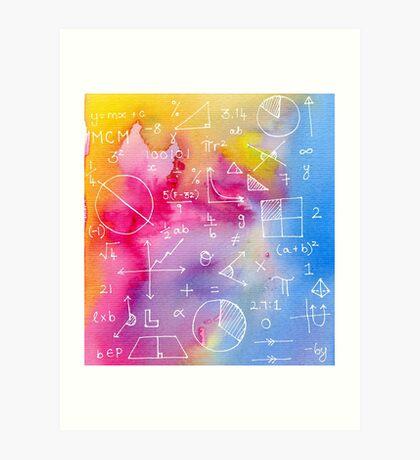 Math formulae (watercolor background) Art Print