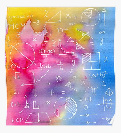 Math formulae (watercolor background) Poster