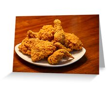 Fried Chicken on Square White Plate Greeting Card
