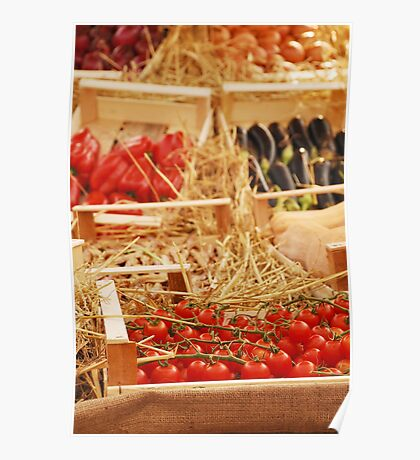 Box of Cherry Tomatoes in Fruit and Veg Display Poster