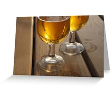 Beer Glasses on Wooden Table Greeting Card