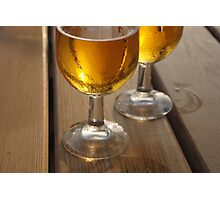 Beer Glasses on Wooden Table Photographic Print