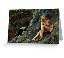 Bikini model posing in front of rocks in Palos Verdes, CA II Greeting Card