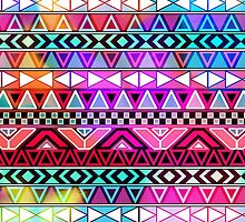 Neon Pink Purple Bright Andes Abstract Aztec Pattern by GirlyTrend