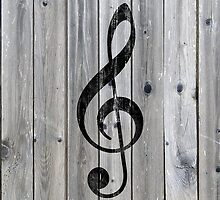 Vintage black music note Treble Clef gray wood by GirlyTrend