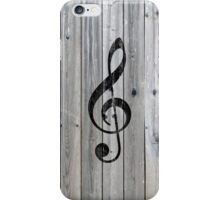 Vintage black music note Treble Clef gray wood iPhone Case/Skin