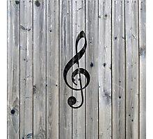 Vintage black music note Treble Clef gray wood Photographic Print