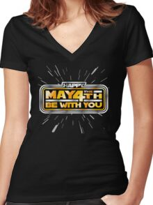 Happy May the 4th! (Yellow/Stars) Women's Fitted V-Neck T-Shirt