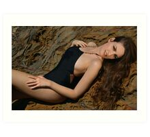 Beauty shot of swimsuit model on location Art Print