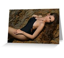 Beauty shot of swimsuit model on location Greeting Card