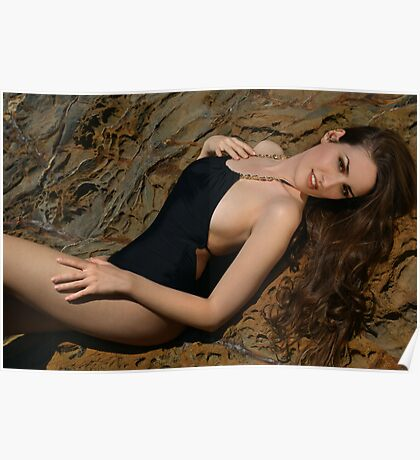Beauty shot of swimsuit model on location Poster