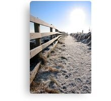 frozen snow covered path on cliff fenced walk Canvas Print
