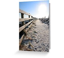 frozen snow covered path on cliff fenced walk Greeting Card