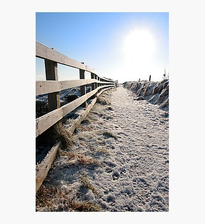 frozen snow covered path on cliff fenced walk Photographic Print