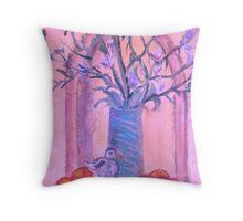 Blue Vase, White bird and Nectarines Throw Pillow