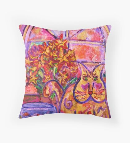Purrty Kitty by Spring Flowers Throw Pillow