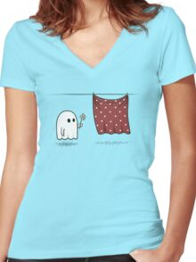 Friendly Ghost Women's Fitted V-Neck T-Shirt