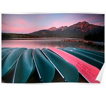 Morning view of Pyramid Lake in Jasper National Park Poster