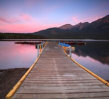 Morning view of Pyramid Lake in Jasper National Park by pictureguy