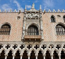 Detail of the facade of The Doge's Palace in Venice by kirilart