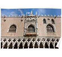 Detail of the facade of The Doge's Palace in Venice Poster