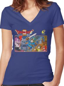 Dragon Quest 2 Nintendo Famicom Box Art Women's Fitted V-Neck T-Shirt