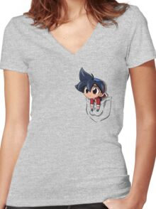 Pocket chibi Tyson Women's Fitted V-Neck T-Shirt