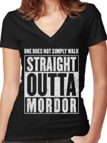 Straight Outta Mordor Quotes Women's Fitted V-Neck T-Shirt