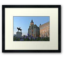 Liver Buildings and crocus Framed Print