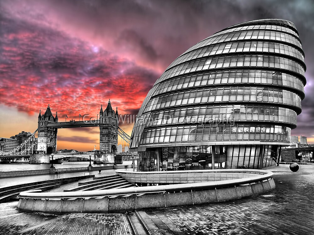 London Skyline - City Hall and Tower Bridge BW - HDR by Colin  Williams Photography