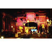 Chinese Arch at night , Liverpool Photographic Print