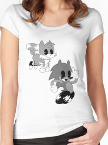 Retro cartoon Sonic Women's Fitted Scoop T-Shirt