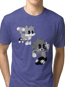 Retro cartoon Sonic Tri-blend T-Shirt