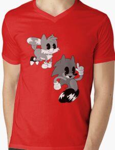 Retro cartoon Sonic Mens V-Neck T-Shirt