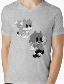 Retro cartoon Sonic Mens V-Neck T-Shirt