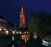 Bruges Night Shot of Church of Our Lady by kirilart