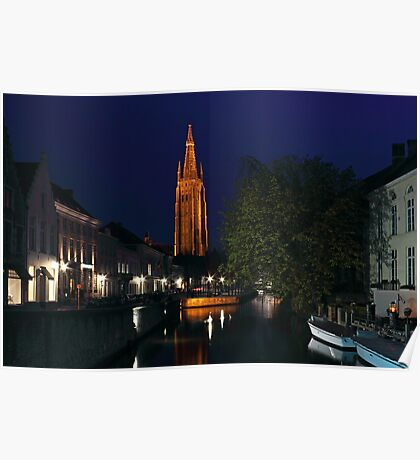 Bruges Night Shot of Church of Our Lady Poster